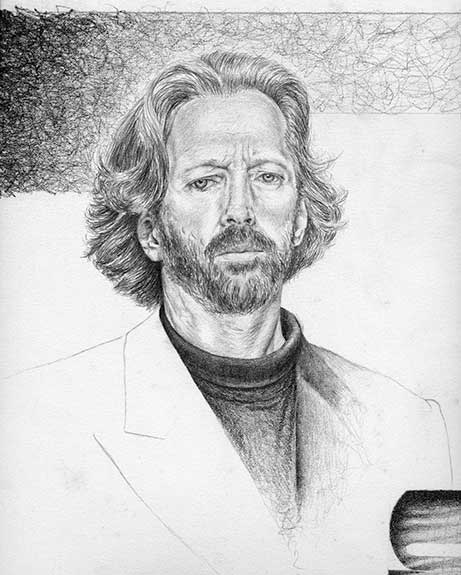 Graphite portrait drawing of Eric Clapton by Nora Thompson